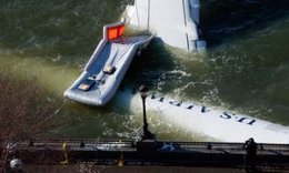 A hero's story: wreckage from the US Airways plane which landed safely on the Hudson in 2009.